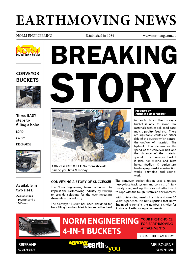 Breaking story Conveyor bucket